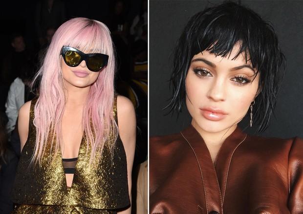 Duas versões de Kylie Jenner: a starlet é adepta de perucas para mudar o visual e preservar os fios naturais (Foto: Getty Images e Reprodução/Instagram)