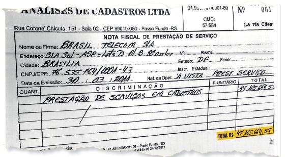 Nota fiscal que consta na investigação do diretor jurídico Eurico Teles, da Oi (Foto: Reprodução)
