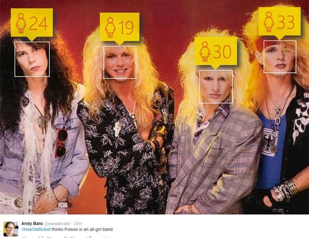 Banda Poison foi identificada como só de mulheres por site da Microsoft (Foto: Reprodução / Twitter)