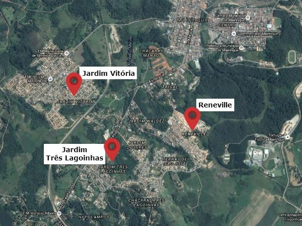 Mapa mostra bairros com mais relatos de tremor de terra em Mairinque (Foto: Reprodução/Google Maps)