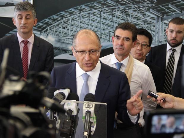 Governador Geraldo Alckmin (PSDB) durante inauguração da fábrica de trens da Hyundai-Rotem em Araraquara (SP) (Foto: Fabio Rodrigues/G1)