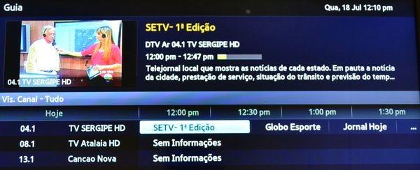EPG (Foto: TV Sergipe/Reprodução)
