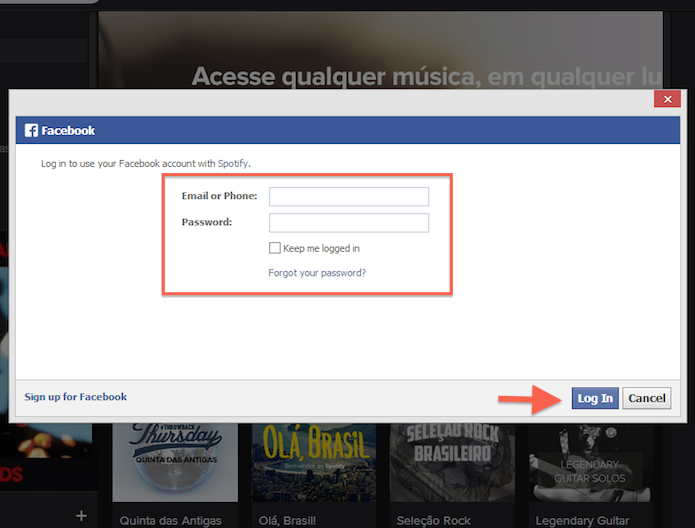 Realizando login no Facebook através do Spotify (Foto: Reprodução/Marvin Costa) (Foto: Realizando login no Facebook através do Spotify (Foto: Reprodução/Marvin Costa))