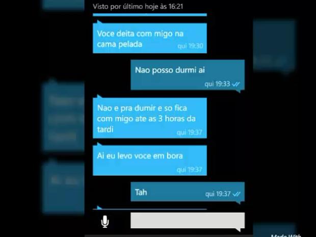Troca de mensagens entre homem e vítima de 10 anos de Sumaré (SP) (Foto: Guarda Municipal de Sumaré)
