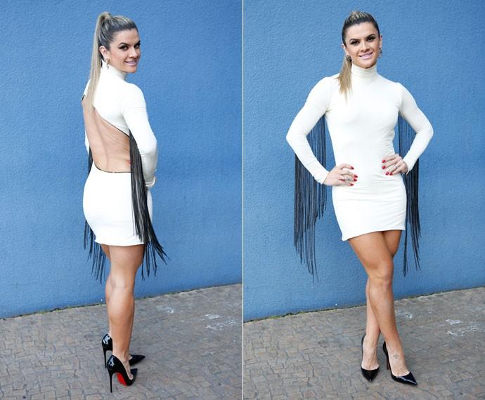 Super tendência! Mirella aposta nas franjas para o look (Foto: Ellen Soares/Gshow)
