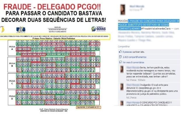 Candidatos postaram nas redes socias a suposta fraude no gabarito, em Goiás  (Foto: Reprodução/ Facebook)