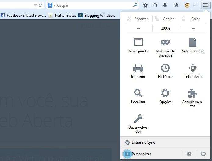 Usuário pode personalizar o menu (Foto: Divulgação/Firefox)