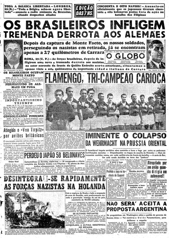Flamengo tricampeão 1944 Capa O Globo (Foto: Reprodução)