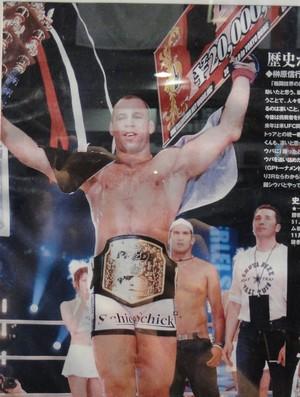 Poster na academia do lutador Wanderlei Silva em Las Vegas (Foto: Marcelo Russio/Globoesporte.com)