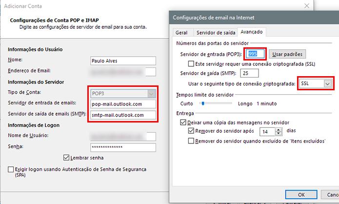 Configuração do Hotmail no Outlook 2013 (Foto: Reprodução/Paulo Alves)