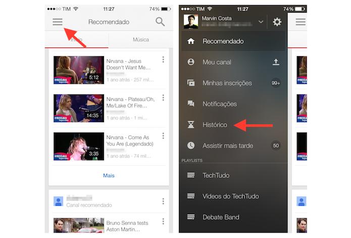 Acessando o histórico de vídeos assistidos no YouTube para iPhone (Foto: Reprodução/Marvin Costa)