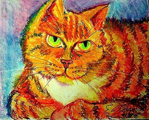 Artista Siobhan Meow pinta retratos de gatos usando tinta misturada com fezes do animal. Quadros com fezes, urina e pelos de gato custam a partir de R$ 3 mil (Foto:  Divulgação/Siobhan Meow)