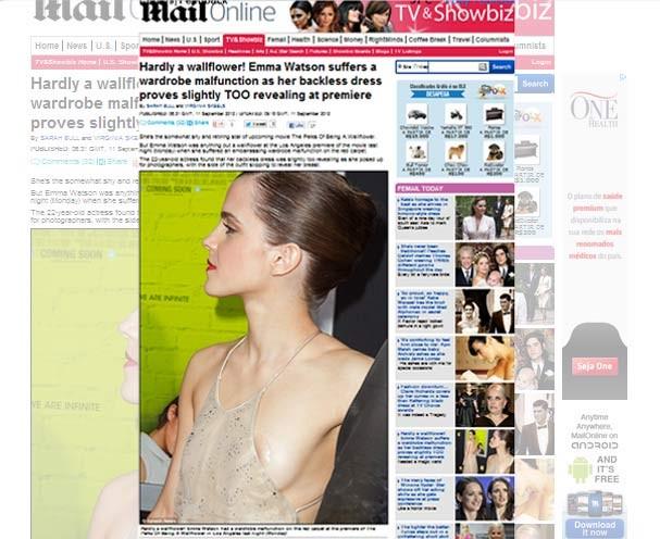 A atriz no momento indiscreto no tapete vermelho (Foto: Splash News/ Reprodução)