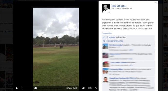 Ruy Cabeção posta vídeo em rede social para mostrar campo de treino (Foto: Reprodução)