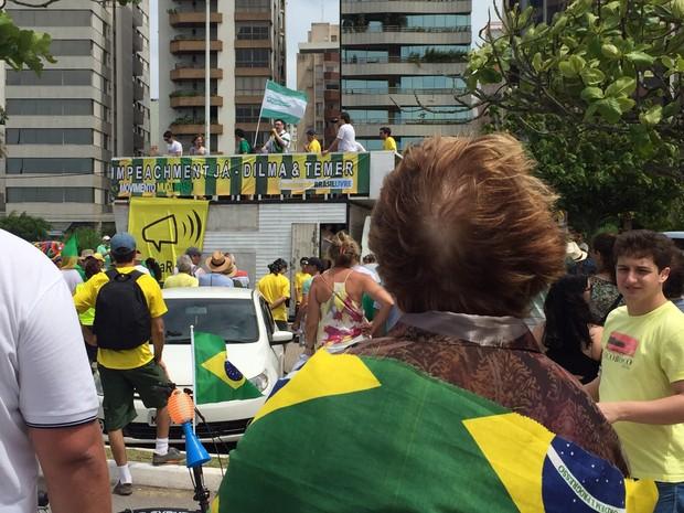 Manifestantes estão no trapiche da Beira-Mar em Florianópolis (Foto: Edivaldo Dondossola/RBSTV)