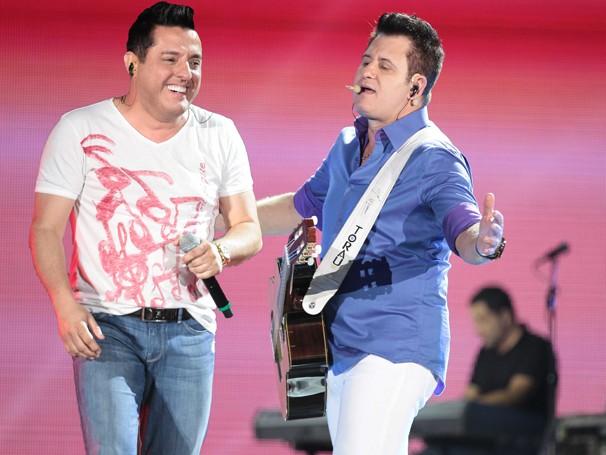 Bruno e Marrone durante o festival Villa Mix Goiânia (Foto: João Luiz/ Globo)