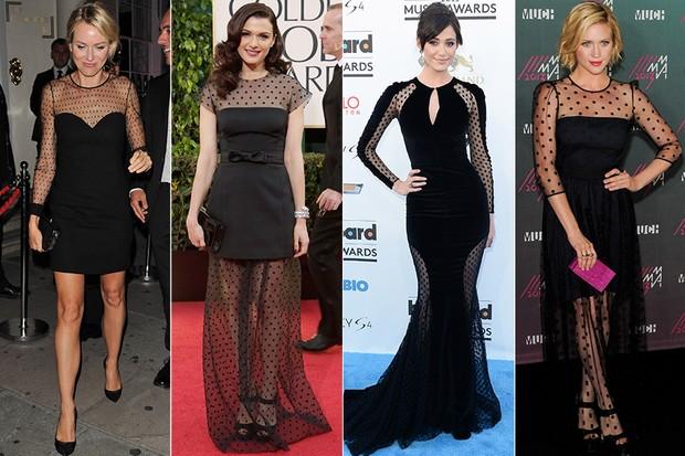 Famosas vestindo Poás - Naomi Watts, Rachel Weisz, Emmy Rossum, Brittany Snow (Foto: Getty Images)