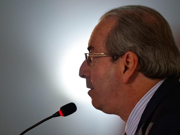 Em entrevista à imprensa em 21 de junho, o presidente afastado da Câmara, Eduardo Cunha, reafirma que não vai renunciar ao cargo (Foto: José Cruz/Agência Brasil)