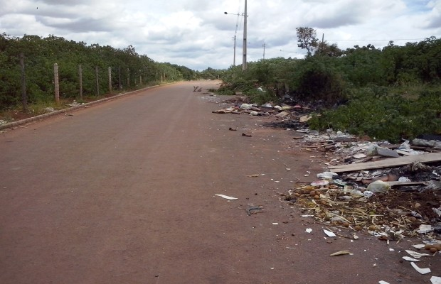 Lixo se acumula nas ruas e mato alto preocupa moradores em Valparaíso, Goiás (Foto: Aloísio Antoônio do Nascimento Júnior/VC no G1)