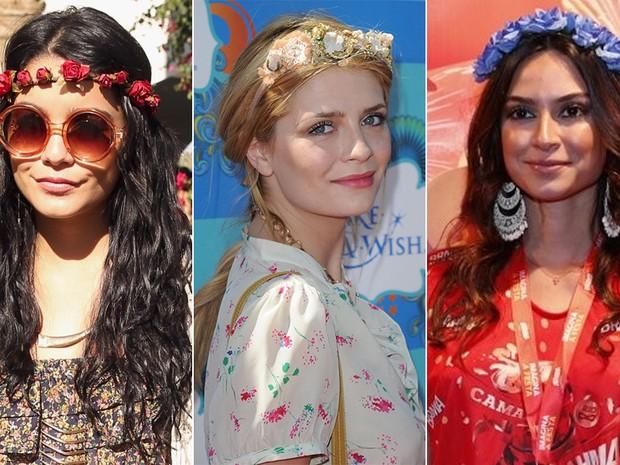 Tiara de flores - Vanessa Hudgens, Mischa Barton e Thaila Ayala (Foto: Getty Images || Movimento Fixo / AgNews)