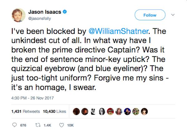 O lamento do ator Jason Isaacs com o block do ator William Shatner (Foto: Twitter)