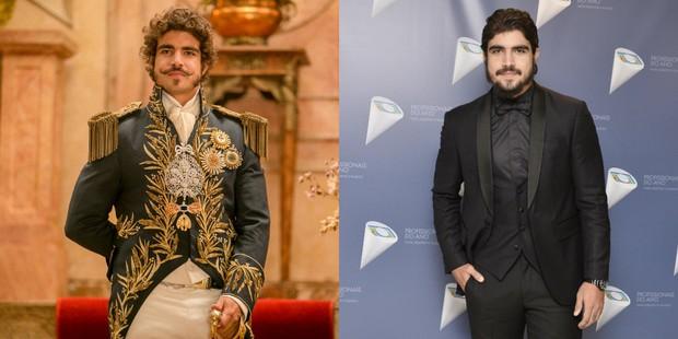 Caio Castro como Dom Pedro e durante o Prêmio Profissionais do Ano 2016 (Foto: Globo/Raquel Cunha | Globo/Ramón Vasconcelos)