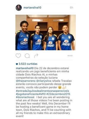Marta tem postado vídeos dos convidados para o jogo em Dois Riachos (Foto: Reprodução/ Instagram)