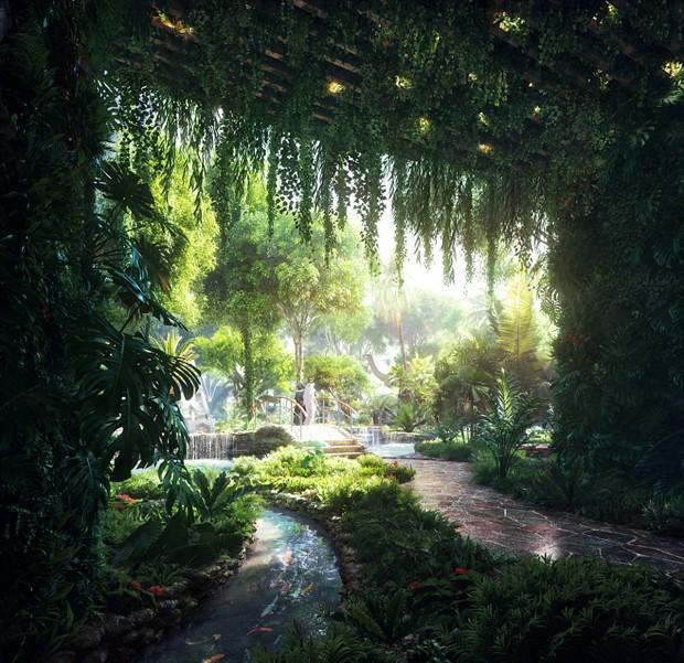 A floresta artificial contará com piscina e praia para os visitantes (Foto: Reprodução/Plompmozes)