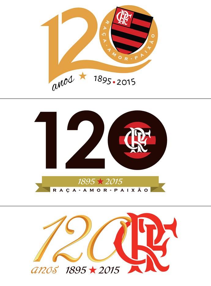 MONTAGEM - logos 120 anos de Flamengo (Foto: Divulgação)