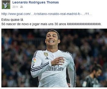 Atacante amazonense faz brincadeira e se compara a Cristiano Ronaldo (Foto: Reprodução/facebook)
