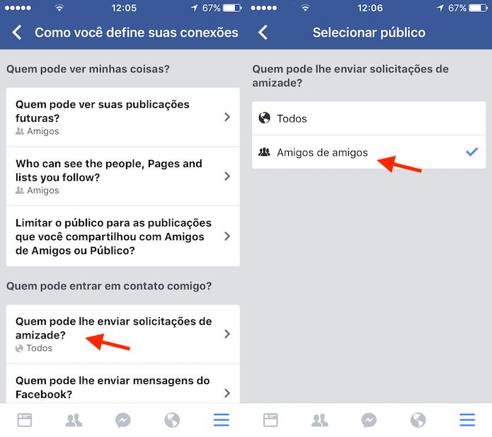 Opção para redefinir a privacidade para novos pedidos de amizade no Facebook para iPhone (Foto: Reprodução/Marvin Costa)