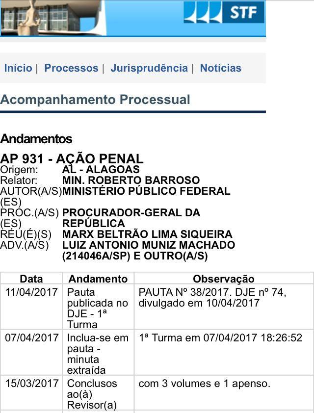 Marx Beltrão é réu em ação penal do Supremo Tribunal Federal (Foto: Reprodução)