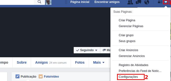 """Acessando as """"Configurações"""" de sua conta no Facebook (Foto: Reprodução/Edivaldo Brito) (Foto: Acessando as """"Configurações"""" de sua conta no Facebook (Foto: Reprodução/Edivaldo Brito))"""