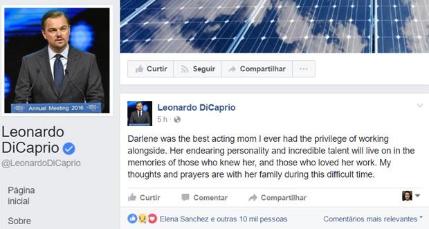 DiCaprio lamenta morte de Darlene Cates, com quem atuou em 'Gilbert Grape: Aprendiz de Sonhador' (Foto: Reprodução)
