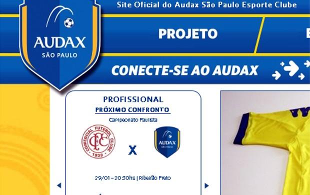 Site do Audax comete gafe ao trocar o distintivo do Comercial de Ribeirão Preto (Foto: Reprodução/Site Audax)