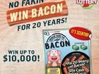 Loteria nos EUA oferece bacon por 20 anos como prêmio