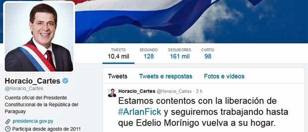 Presidente do Paraguai, Horacio Cartes, falou sobre a libertação do brasileiro em seu perfil oficial no Twitter. (Foto: Reprodução / Horacio Cartes / Twitter)