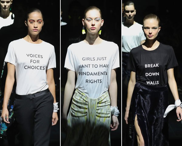 """""""Vozes às escolhas""""; """"Garotas só querem ter: direitos fundamentais""""; """"Derrubem os muros"""" (Foto: Getty Images)"""