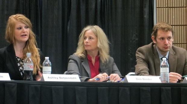 A partir da esquerda, Ashley Betzendahl, Deb Binder e Andy Giefer (Foto: Mariana Iwakura)