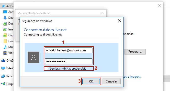 Digitando as credenciais da conta OneDrive (Foto: Reprodução/Edivaldo Brito)