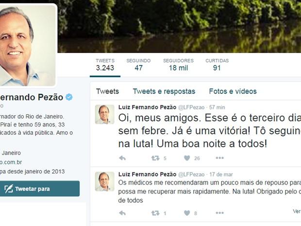 O governador Luiz Fernando Pezão tem usado seu perfil no Twitter para informar seu quadro de saúde após internação. (Foto: Reprodução/Twitter)