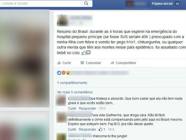 Homem fez um post no Facebook para relatar o assalto em Curitiba (Foto: Reprodução / Facebook )