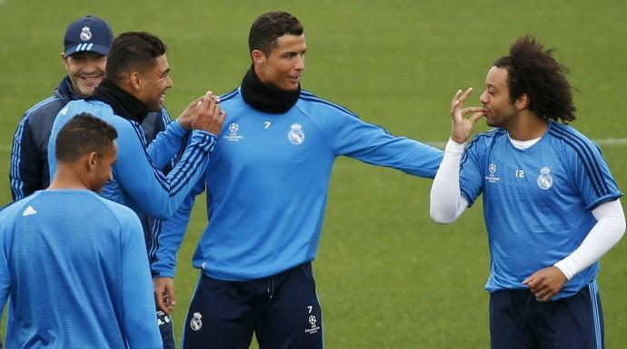 Marcelo, Cristiano Ronaldo, Casemiro e Danilo treino Real Madrid (Foto: Reuters)