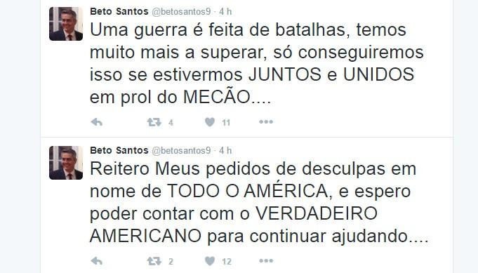 Beto Santos presidente do América-RN desabafo