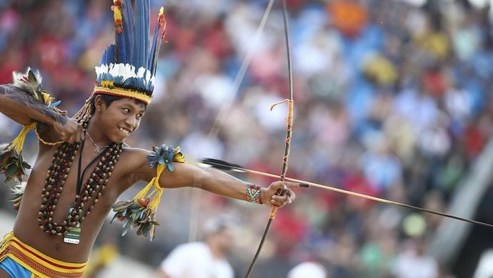 Arco e flecha nos Jogos Mundiais dos Povos Indígenas (Foto: Roberto Castro/ ME)