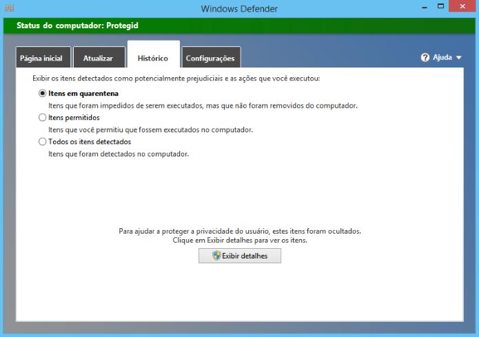 Visualizando histórico do Windows Defender (Foto: Reprodução/Helito Bijora)
