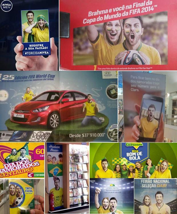 Fotos do mesmo torcedor que grita  se multiplica em anúncios para Copa (Foto: Arquivo Pessoal)