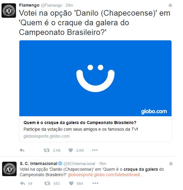 Flamengo e Inter Danilo (Foto: Reprodução Twitter)