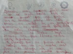 Em carta, menina pediu para visitar a mãe, presa na Grande Natal (Foto: Reprodução)