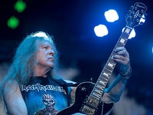 O guitarrista Janick Gers, do Iron Maiden  (Foto: Alexandre Bastos/G1)